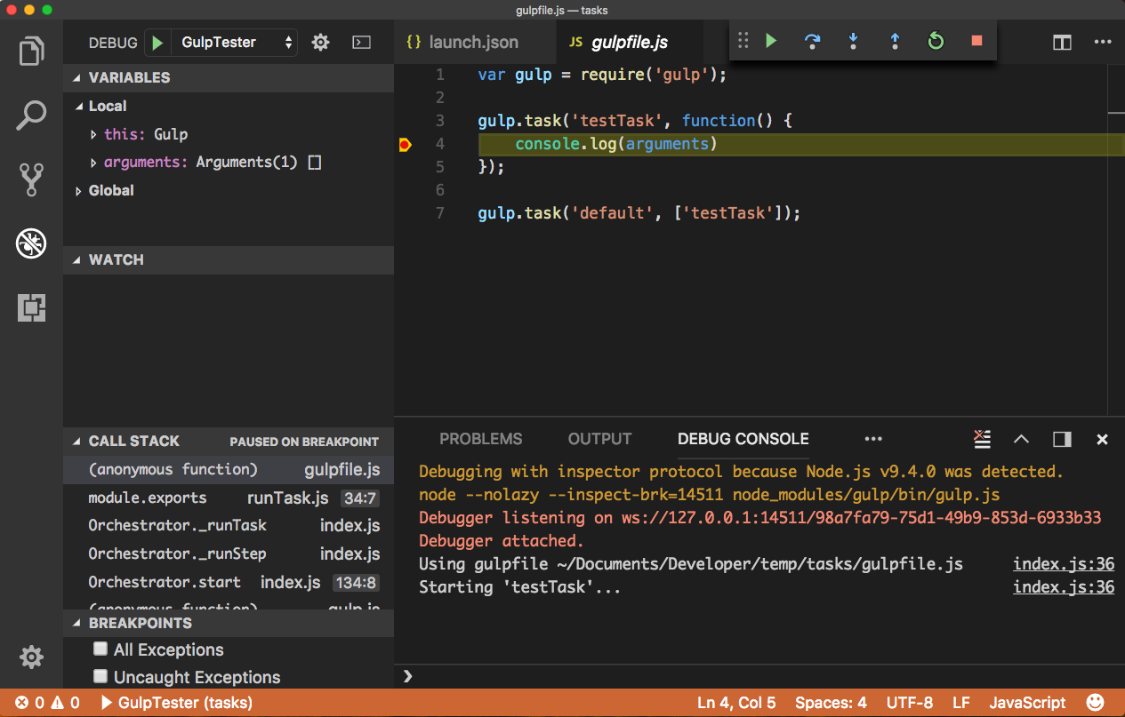 How to debug gulp tasks in VSCode - Winsmarts com