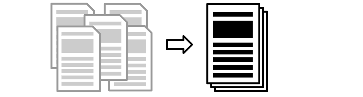 Icons representing several research reports being collated into a single document.