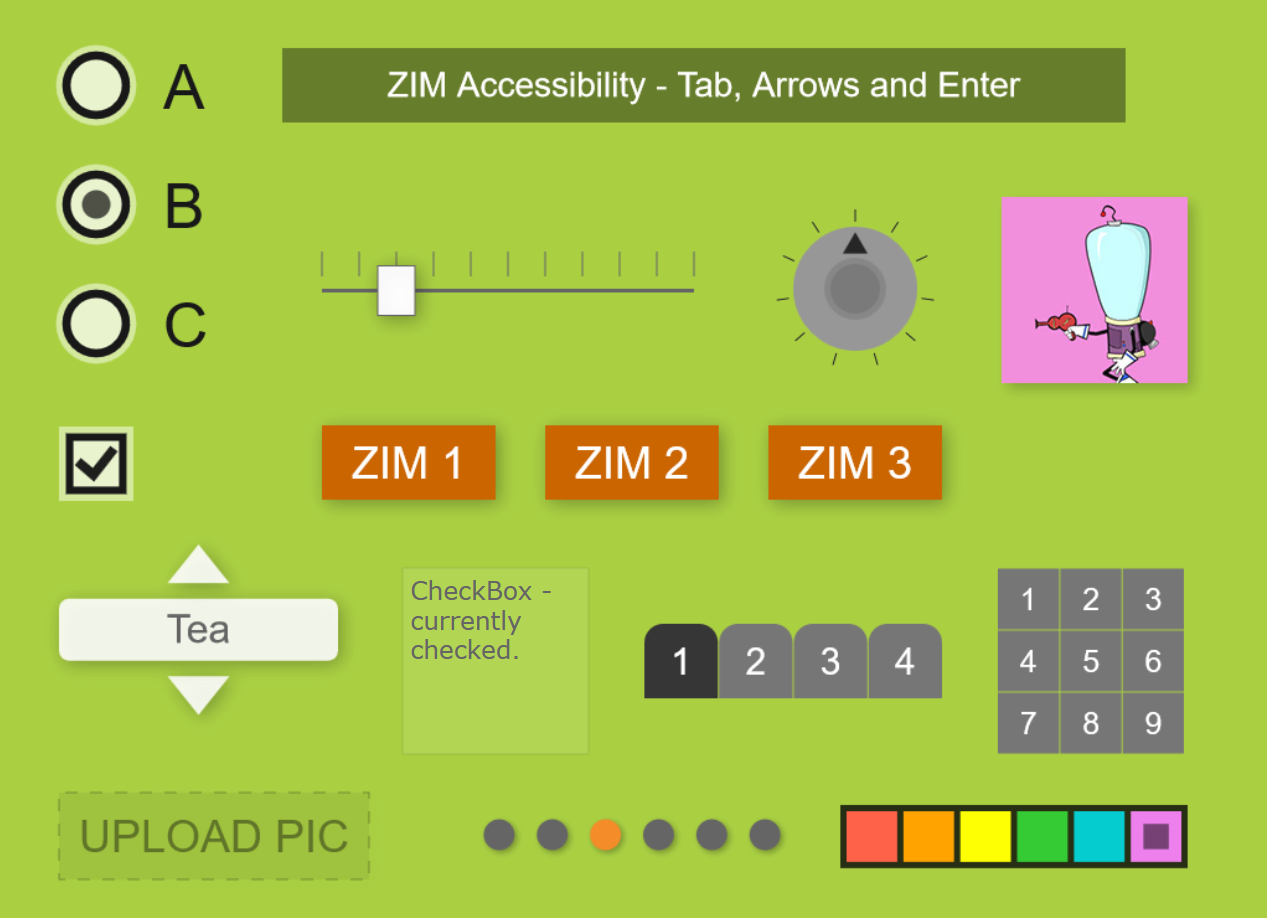 An example of accessibility with over a dozen ZIM Components— click link under picture