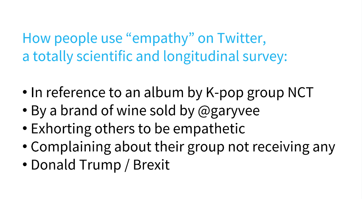 "5 different us os the word ""empathy"" on Twitter. Can be read in the slides. it's slide 15"