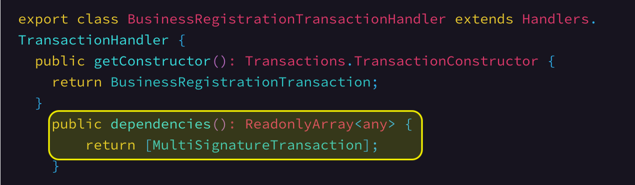 Registering dependent transaction types.      Link To Source Code