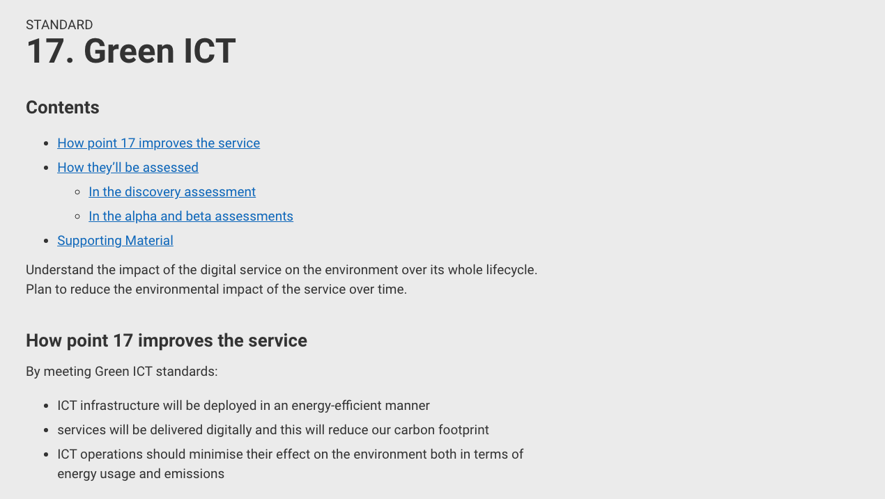 criteria 17: Green ICT—Understand the impact of the digital service on the environment over its whole lifecycle.