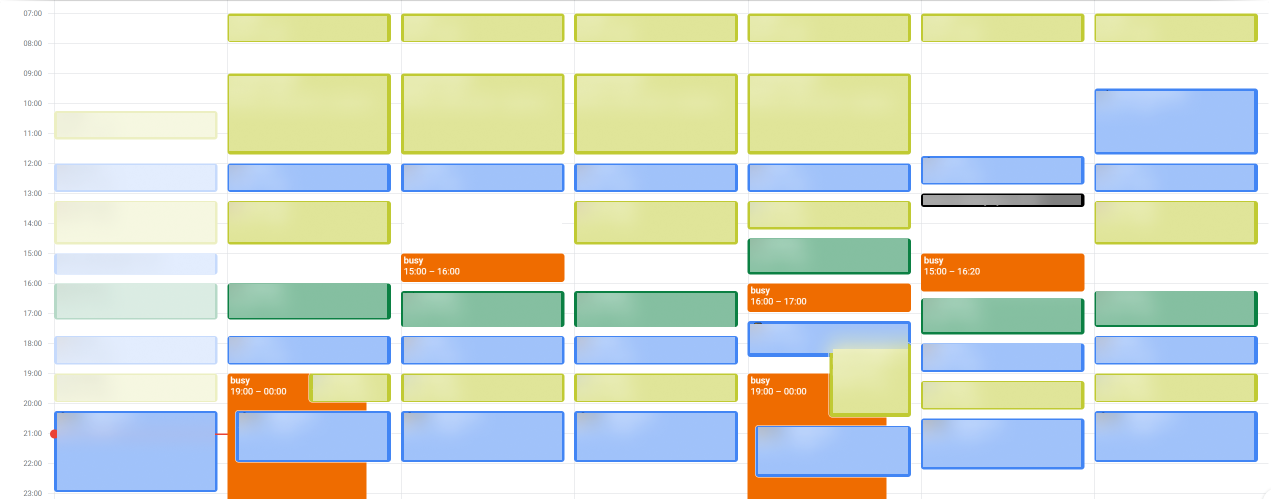 An obfuscated image of how I am using Google Calendar. Each event have at least 15 minutes gap between them, and they almost