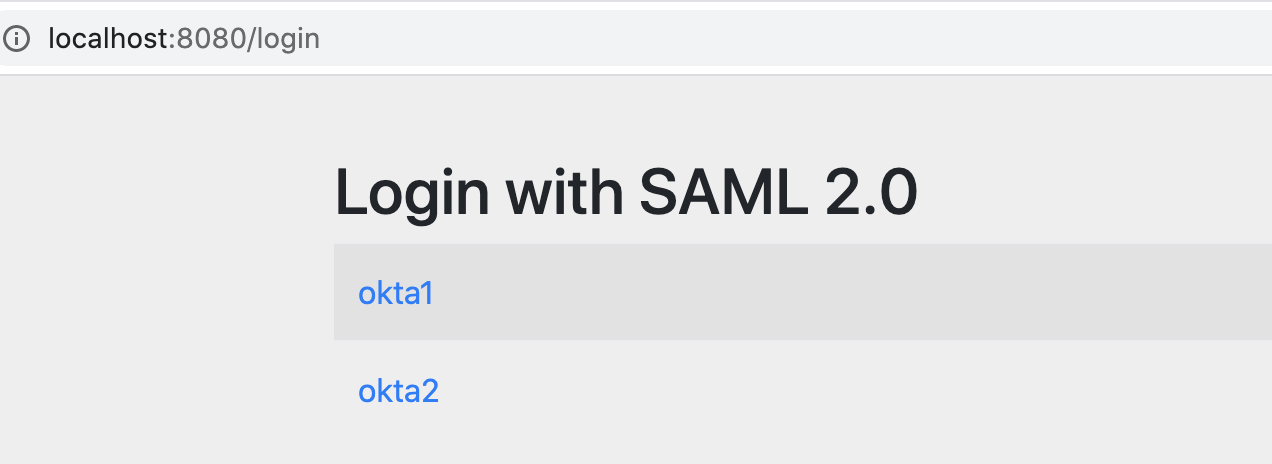 Spring Security's default login page shows the available SAML IDPs