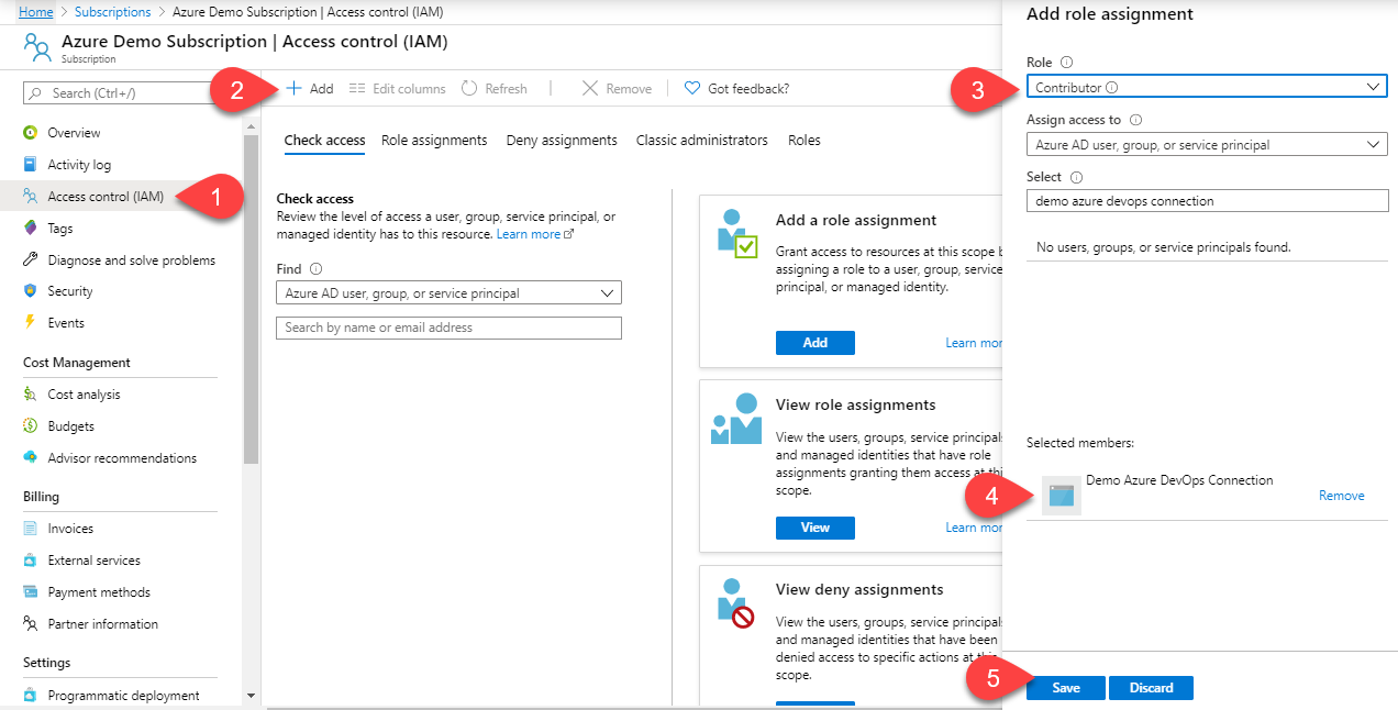 Image showing how to add the app as a contributor in Azure