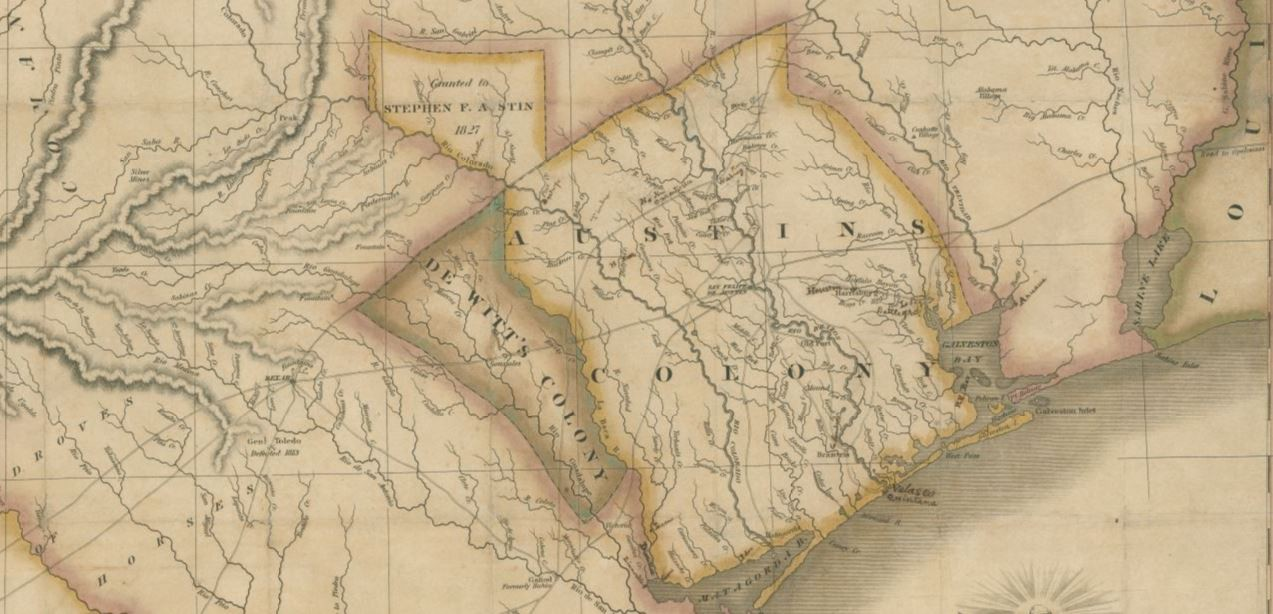 Map Of Texas Showing Austin.Map Of Texas With Parts Of The Adjoining States Save Texas History