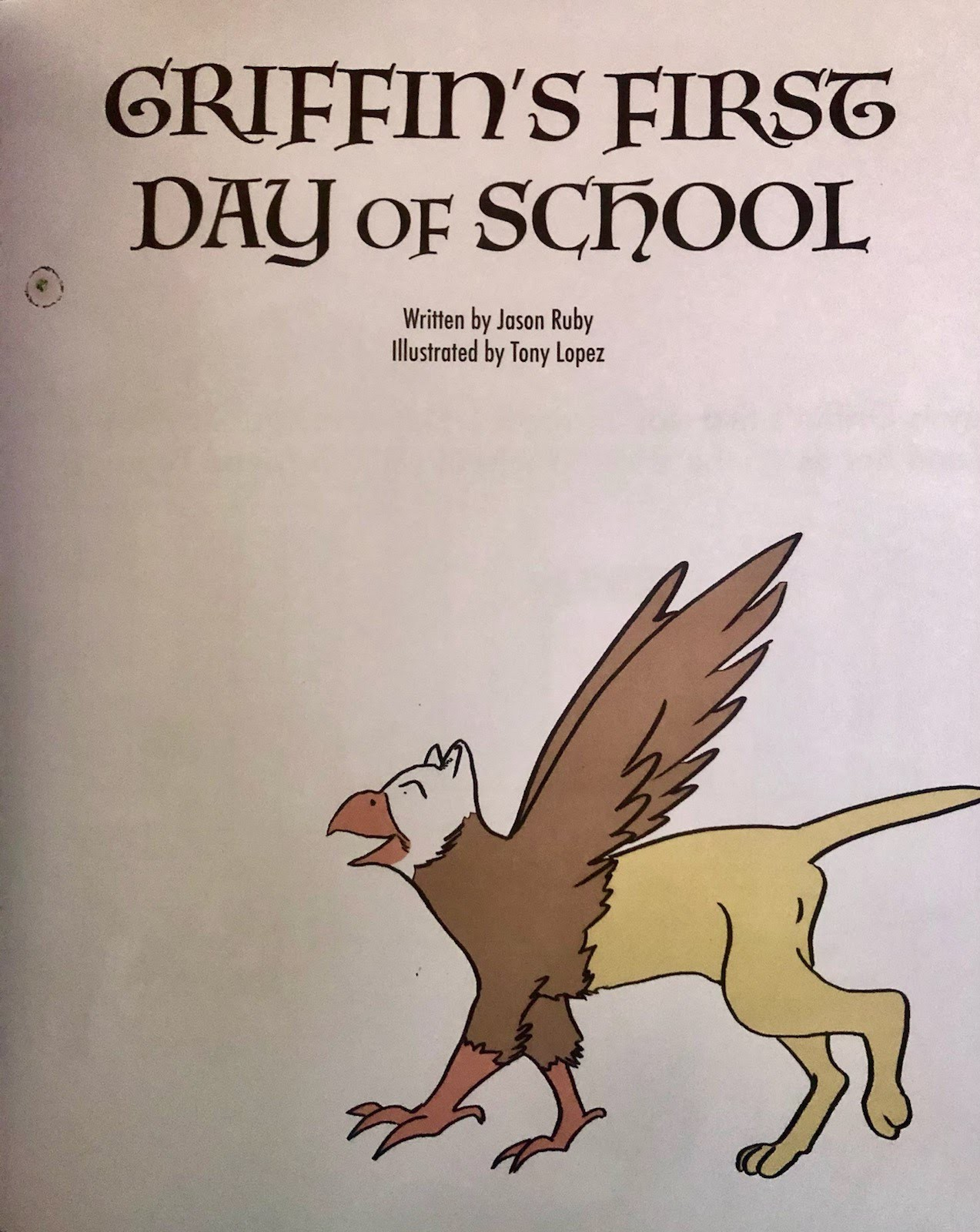 title page of griffin's first day of school