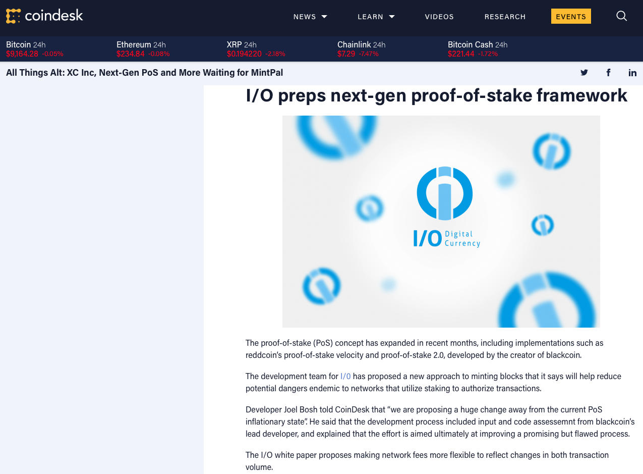 Coindesk 2014 article on IOC I/O Coin POS
