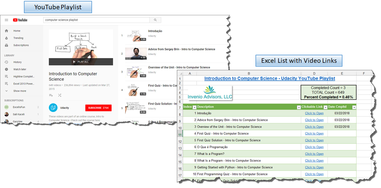 YouTube Playlist to Linked List In Excel? Why Not! - Don