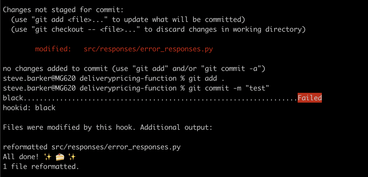Showing successful black commit hook formatting my code.