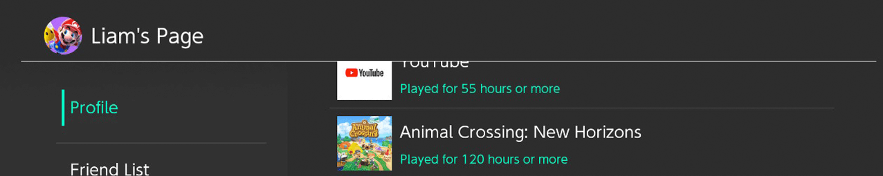 A screenshot displaying Animal Crossing: New Horizons playtime as 120 hours or more.
