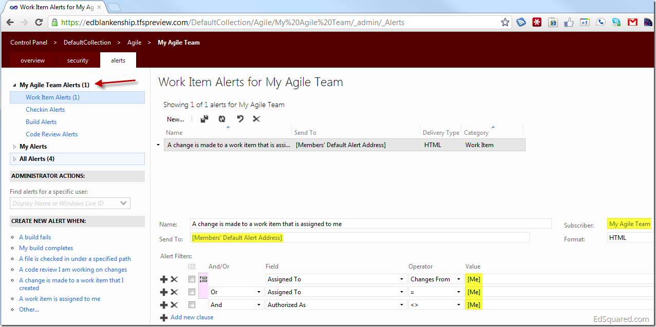 Creating E-Mail Alerts for Team Members in TFS - EdSquared