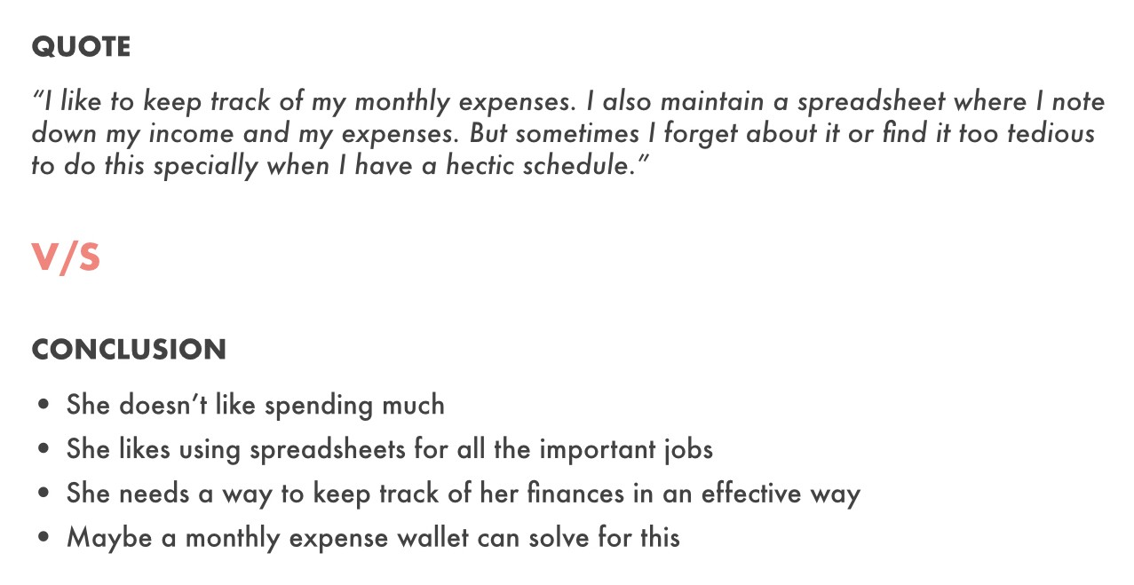 User mentions that he tracks his daily expenses in spreadsheets, while the note taker concludes that he loves the spreadsheet
