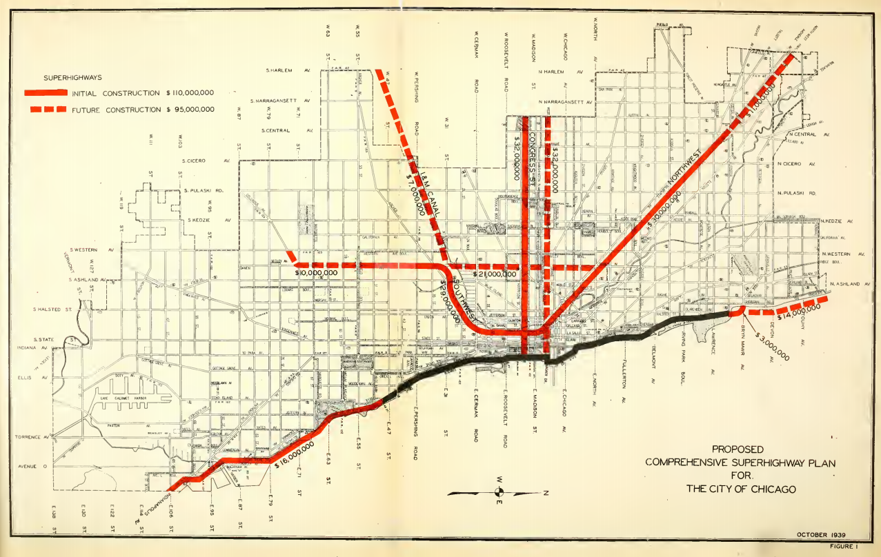 Chicago Subway Map With Streets.How Chicago Built Its Superhighways Tomasz Medium