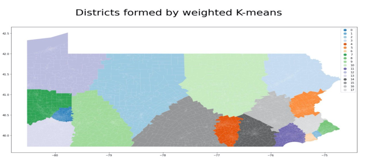 District plan generated by weighted k-means