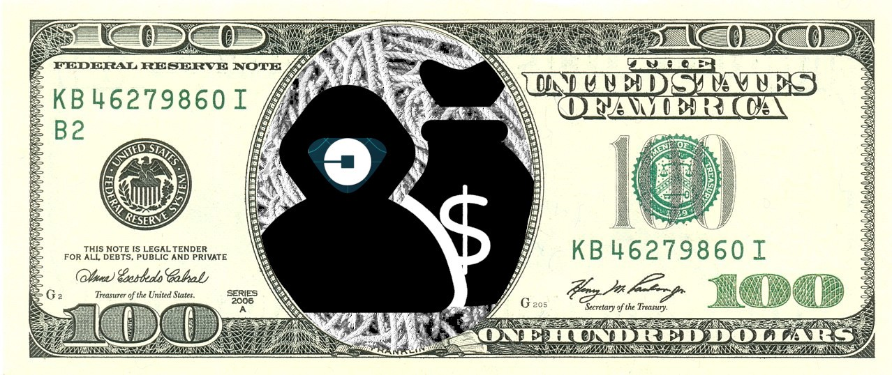 A US $100 bill in which Benjamin Franklin has been replaced by the icon of a bank robber in a hoodie, his face an Uber logo. Image: Vectors Point, PK (modified) https://thenounproject.com/term/robber/3239420/ Ian Merchant (modified) https://www.flickr.com/photos/iainmerchant/33258321552 CC BY: https://creativecommons.org/licenses/by/3.0/us/legalcode