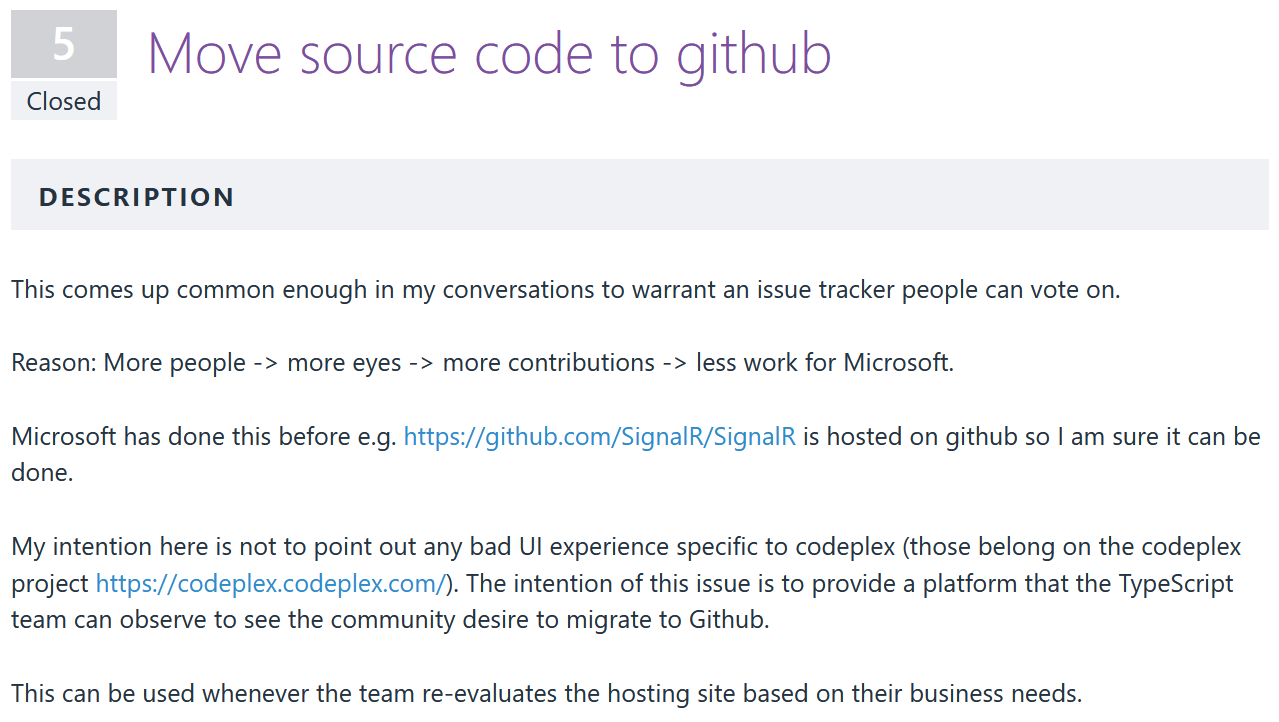 Request for TypeScript to migrate to Github