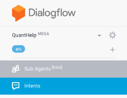 Sub agents of the Mega agent in DialogFlow