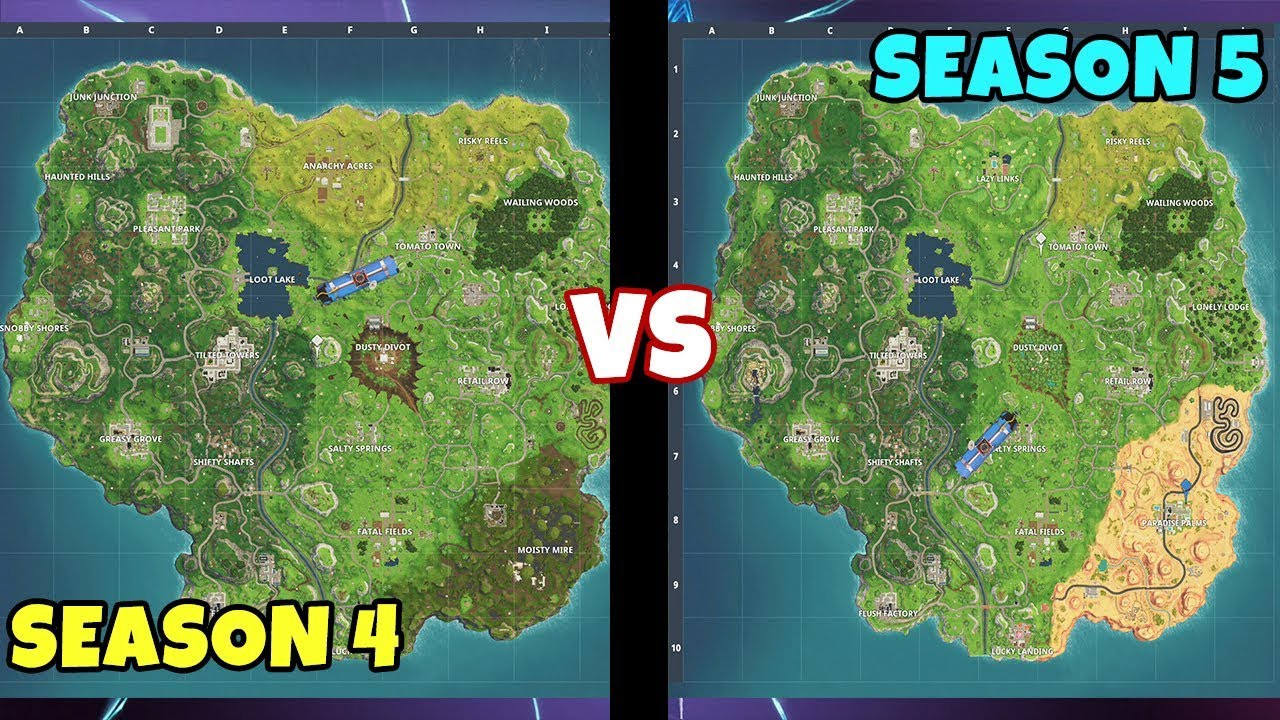 Fortnite Season 4 Vs Season 5 Fortnite Season 5 Is Officially Out By Raymond Wu Watupgames Medium With all that in mind, let's take a look at the new map changes. fortnite season 4 vs season 5