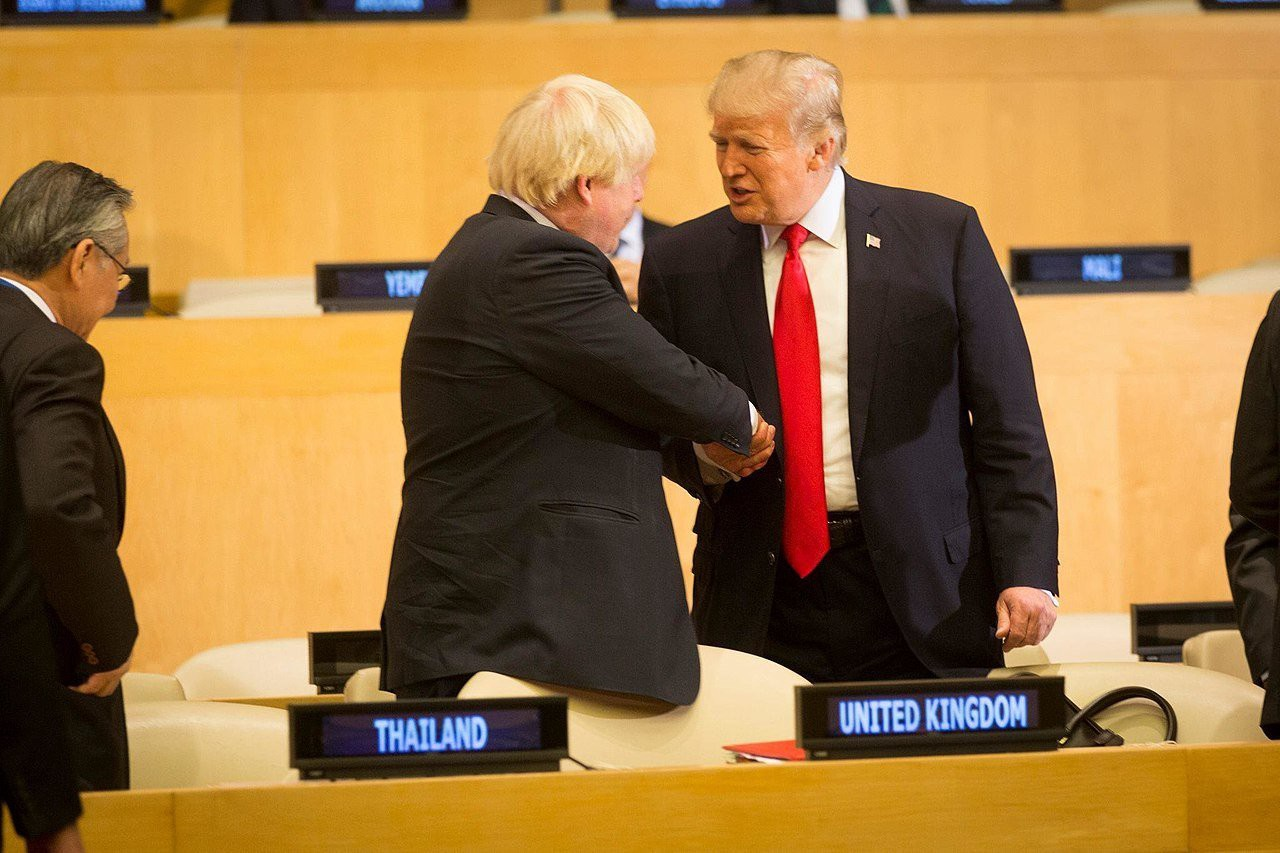 President Donald J. Trump and the British Secretary of State for Foreign and Commonwealth Affairs Boris Johnson at the United Nations General Assembly (Official White House Photo by D. Myles Cullen)
