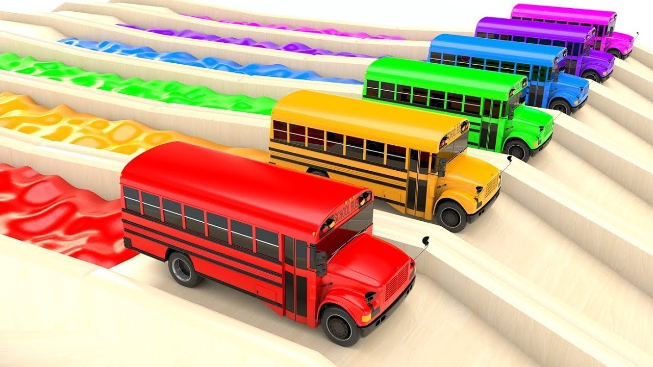 Colors For Children To Learn With Street Vehicles School Bus ...