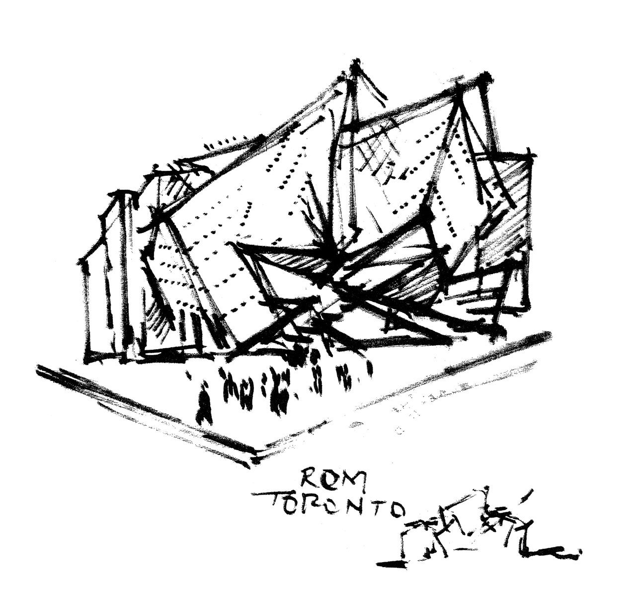 An imprecise drawing of a modern-looking building.