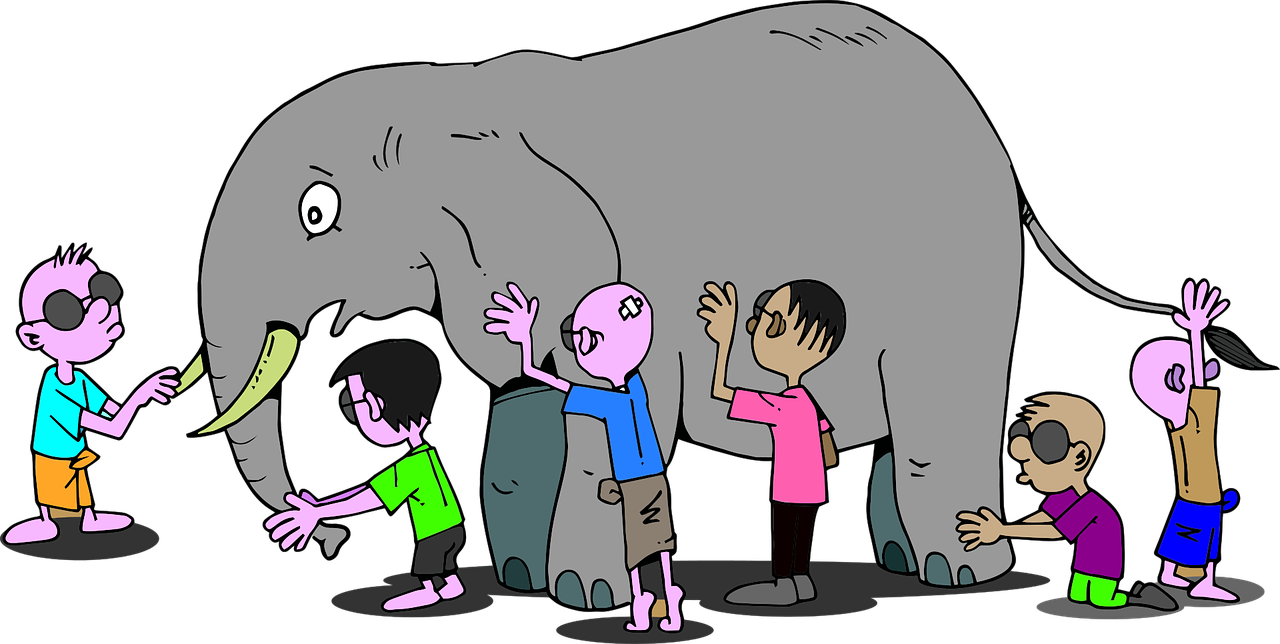 Pictures shows and elephant and people in an effort to display an example for subjectivity/objectivity identification