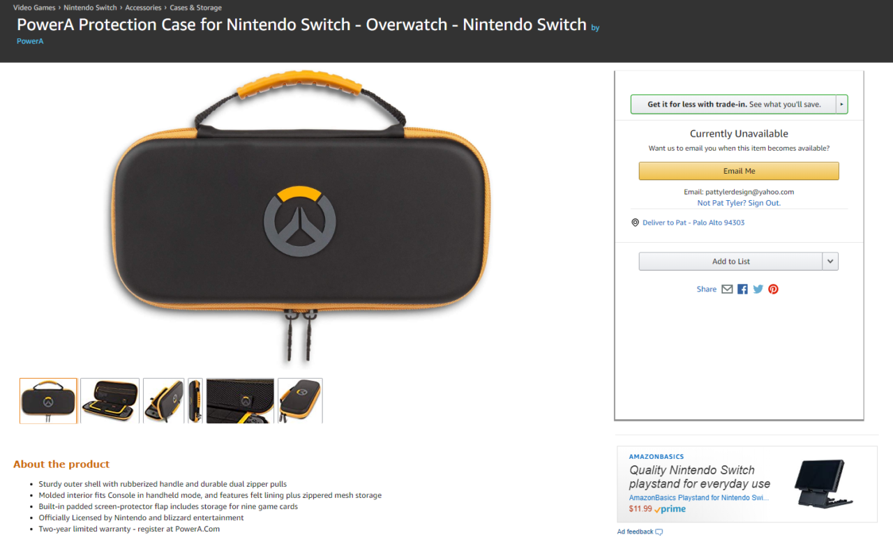 A screenshot of Amazon's now delisted page for PowerA's Overwatch-themed Switch case.