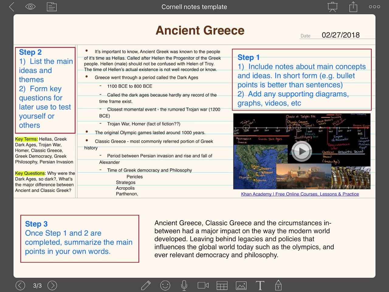 Cornell Notes Example Greek History