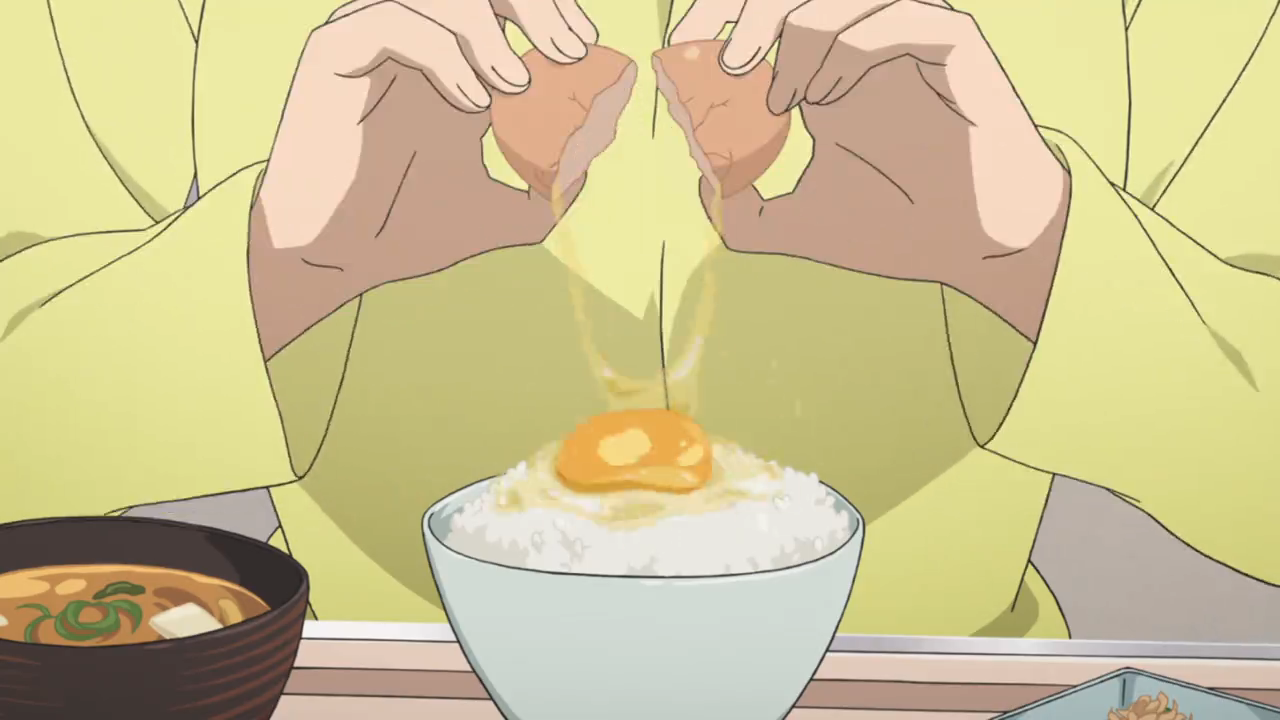 Anime film still of a character cracking an egg over a bowl of rice. They are wearing yellow.