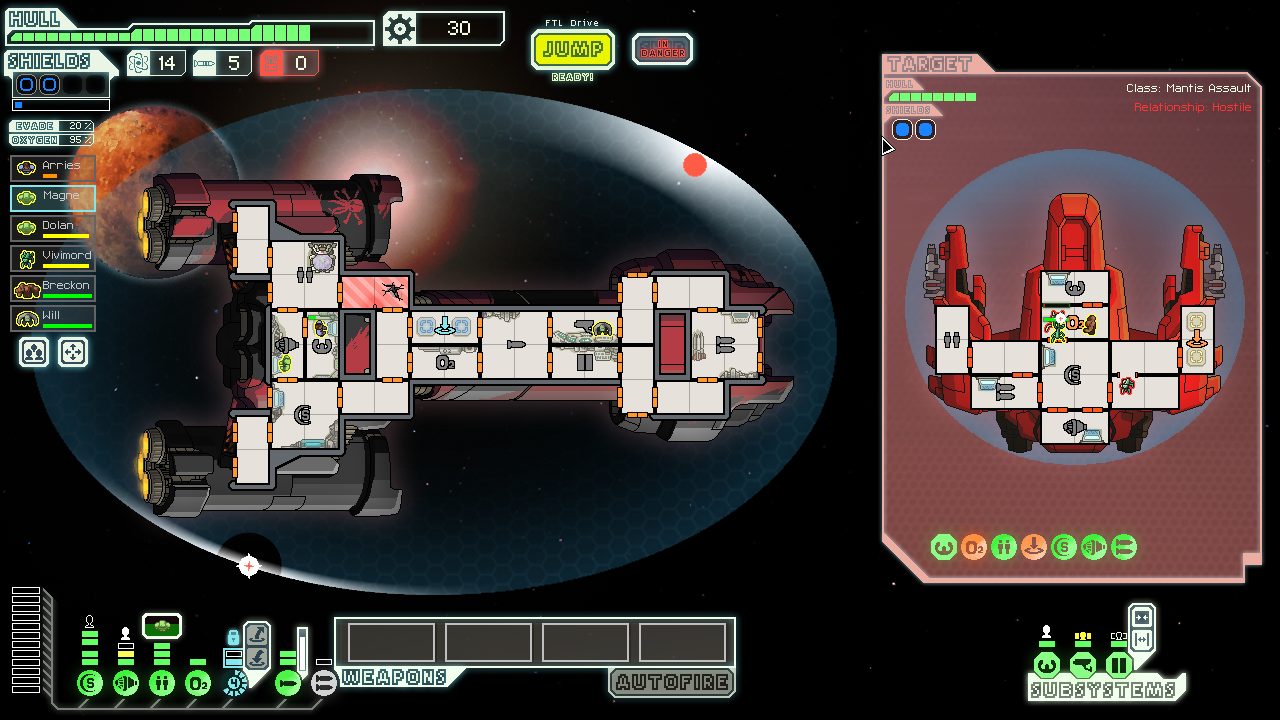 """An image of the game """"FTL""""—a strategy spaceship battle game."""