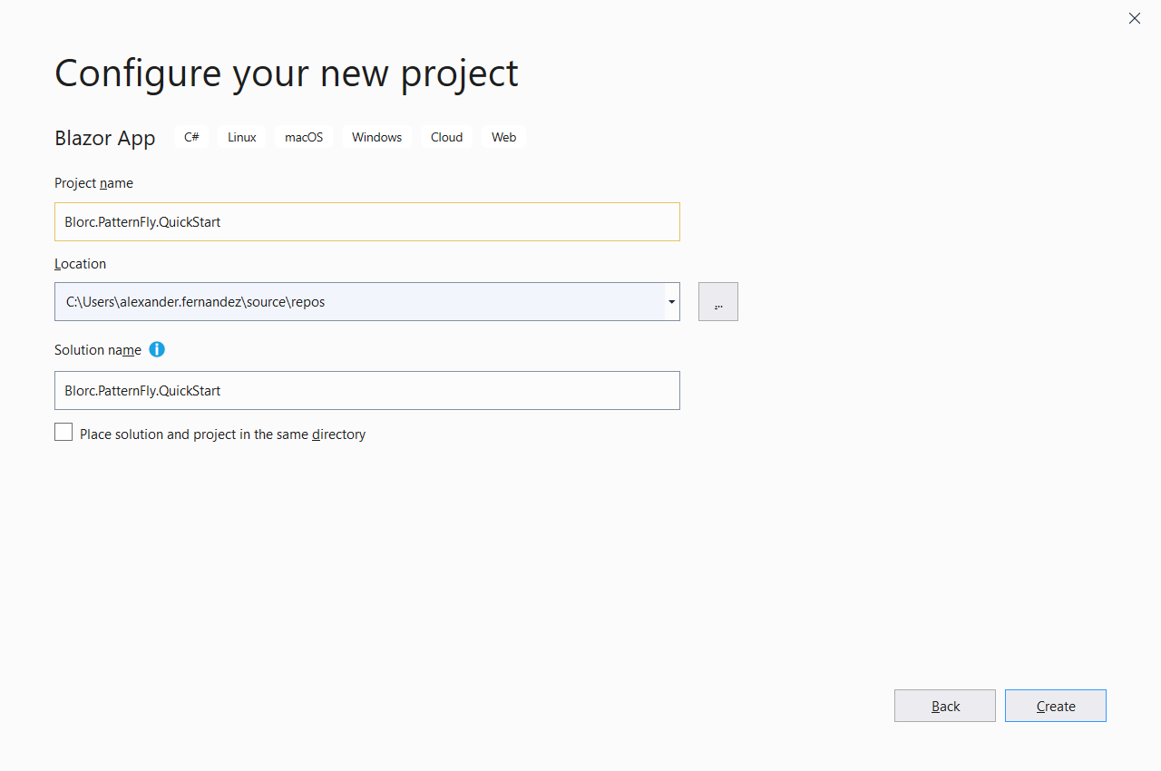 configure your new project screen