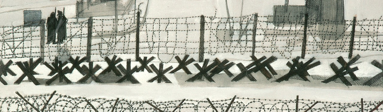 A charcoal illustration of a barbed wire fence and soldiers in the distance