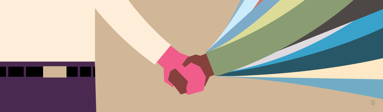 Illustration of a handshake between one person and many arms leading to one hand.