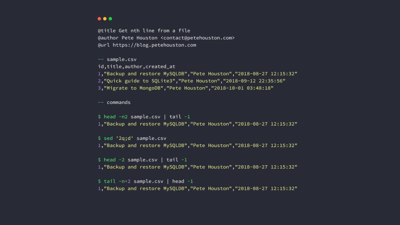 Get n-th line from file using command-line - Pete Houston