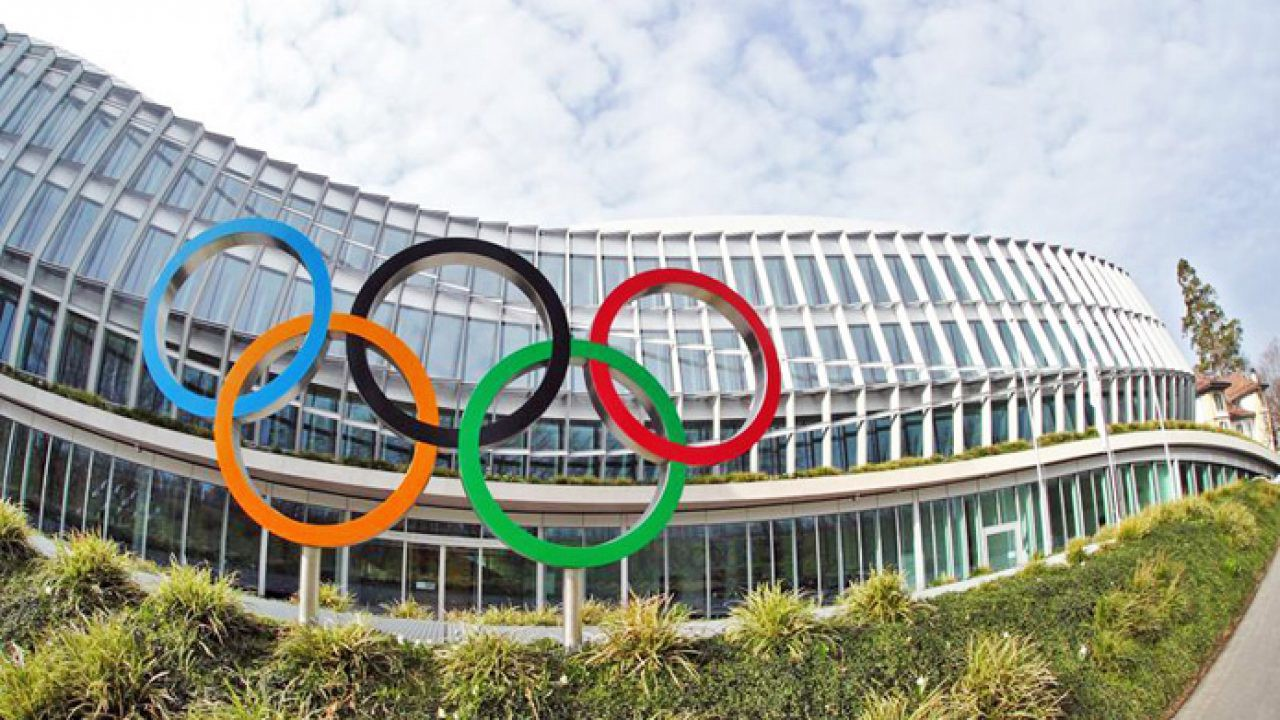 One of the Olympic stadiums in Tokyo. The 5 rings of the Olympics are front and center.
