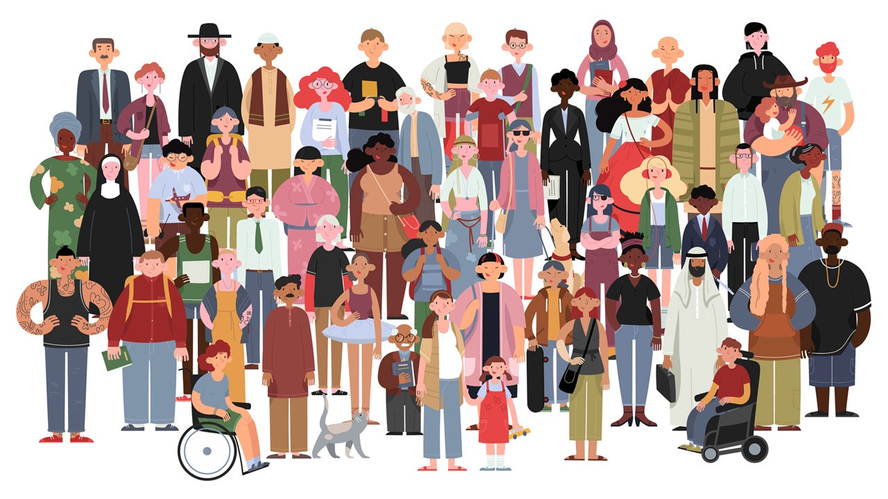 drawing with very diverse people, age, race, religion, body shape, disability