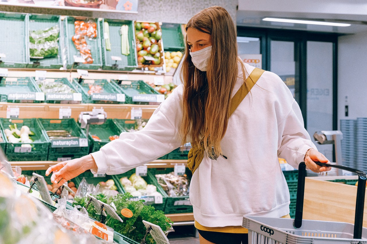 Woman shopping with a mask