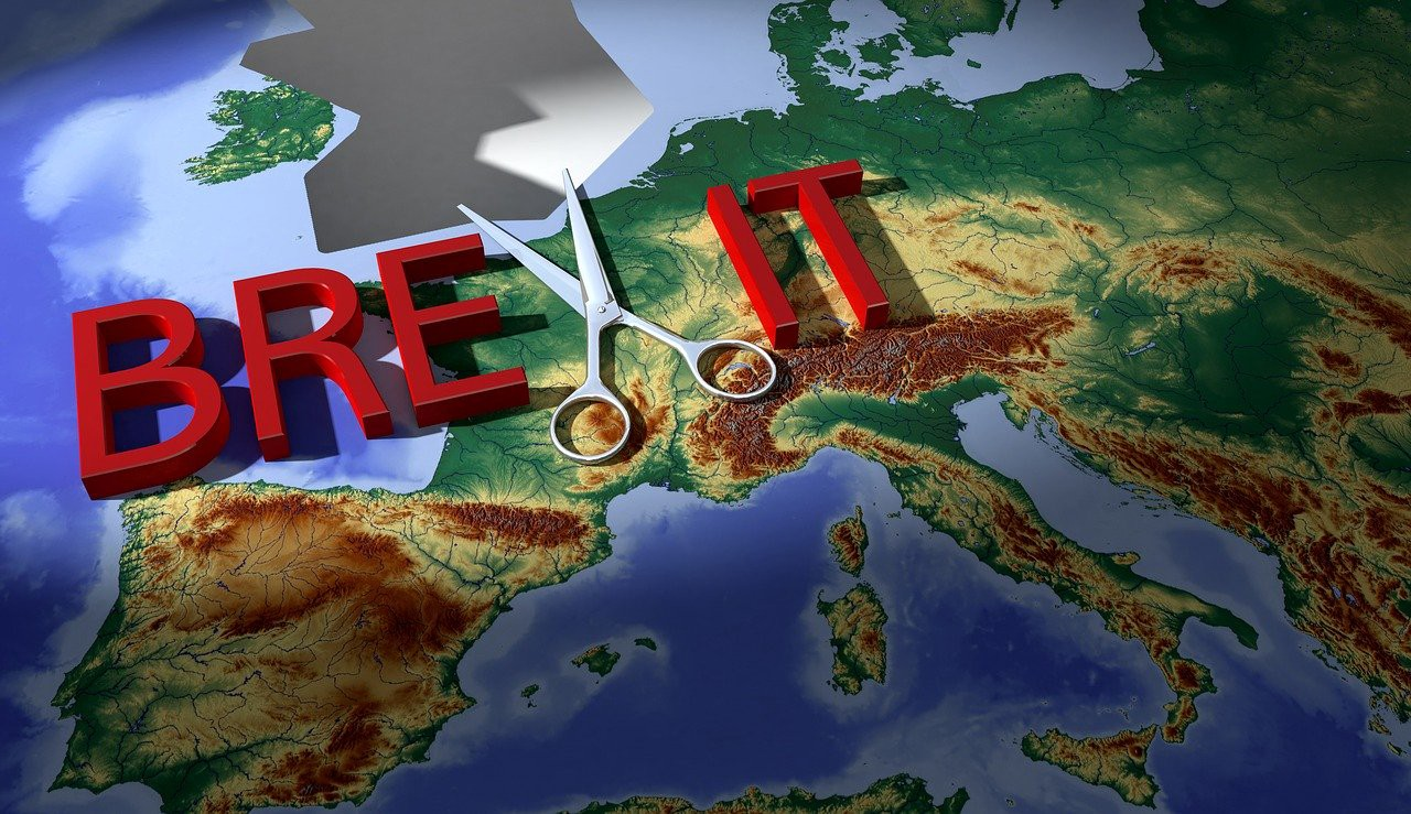 Brexit words in red writing on a map of Europe