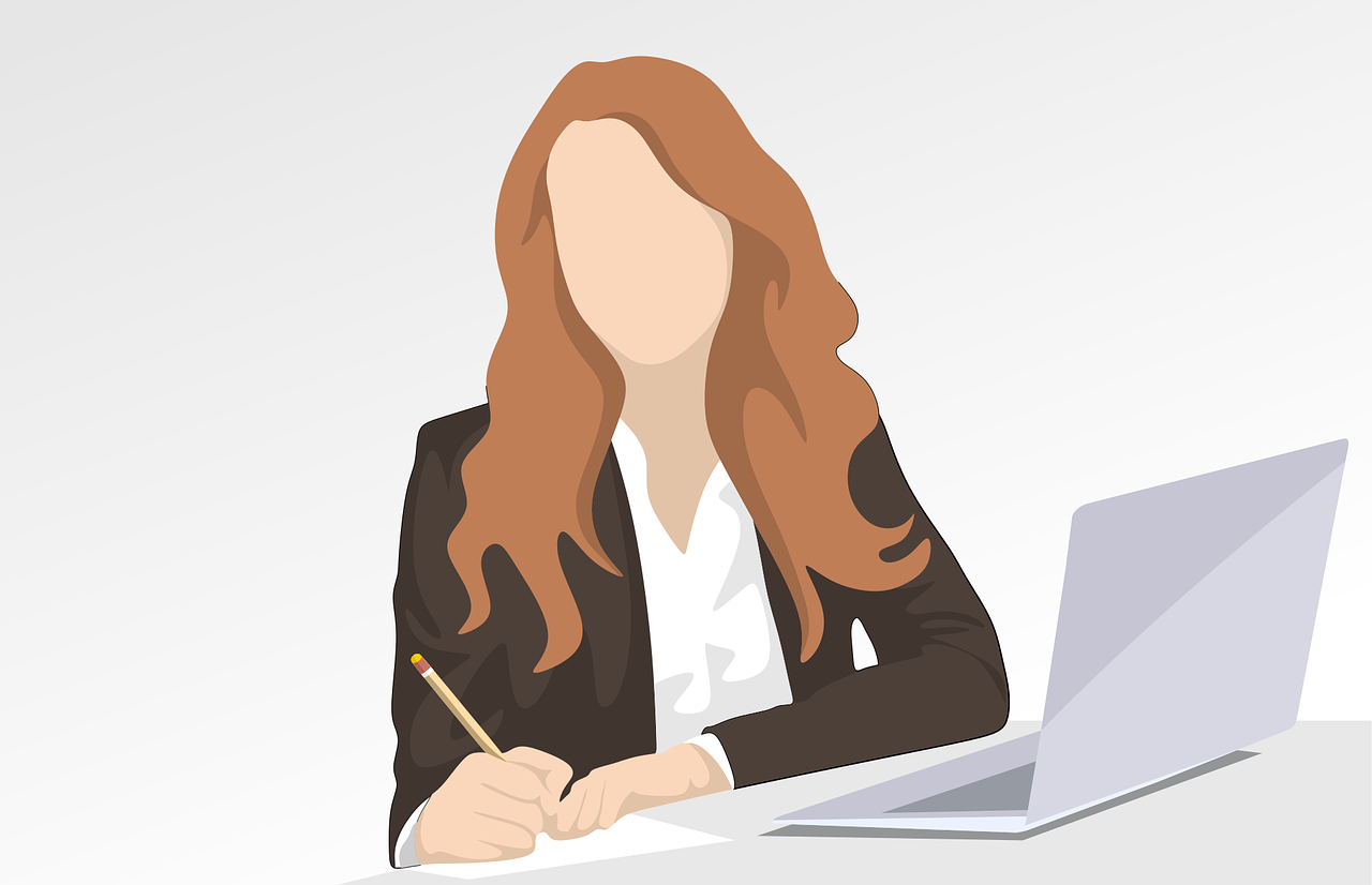 A drawing of a faceless woman with brown hair. She is wearing a blazer and is writing on a piece of paper. A laptop is open to the right of her.