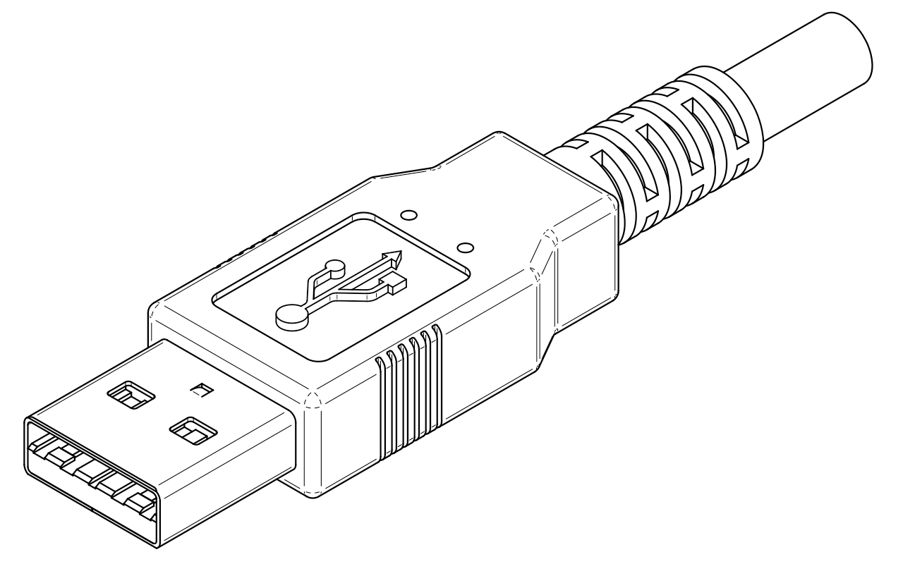 A sketch of a USB Type-A plug