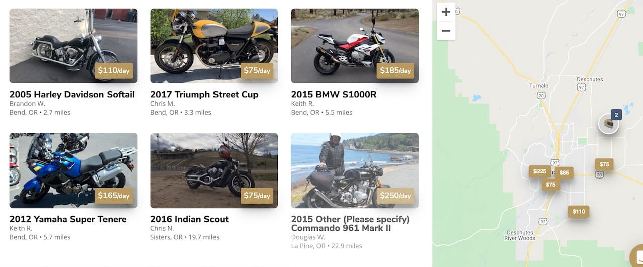 Motorcycles you can rent online on Twisted Road in Bend, Oregon