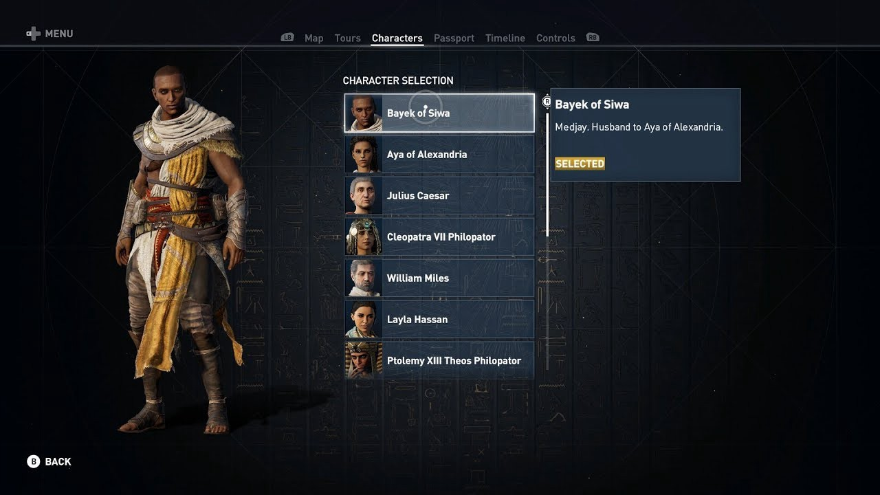 A screenshot of character selection, showing some of the different select-able avatars in the Egyptian version.