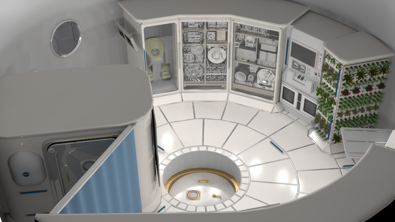 A rounded interior of a room inside a colony in space.