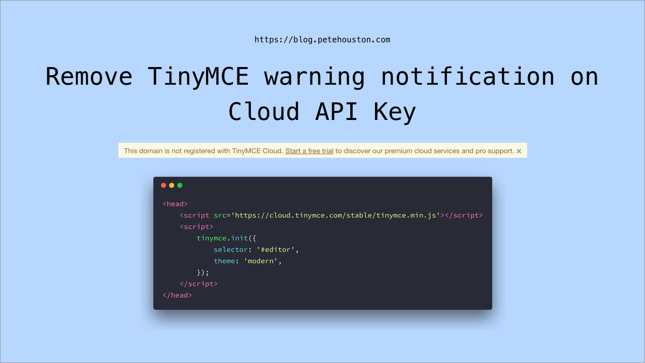 Remove TinyMCE warning notification on Cloud API Key