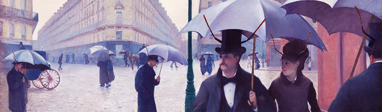A painting of Parisians in the 1800s walking down a rainy street holding umbrellas.