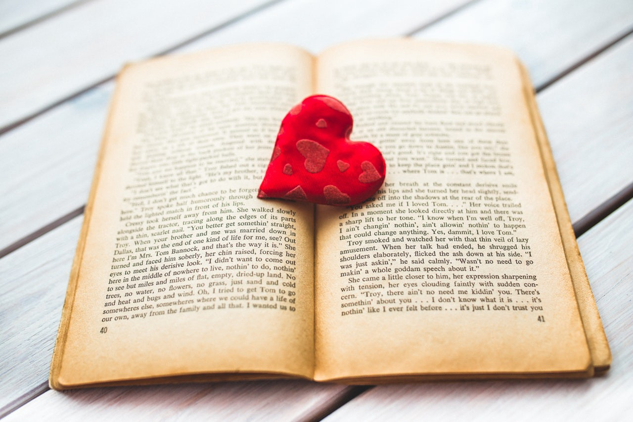Heart on open book