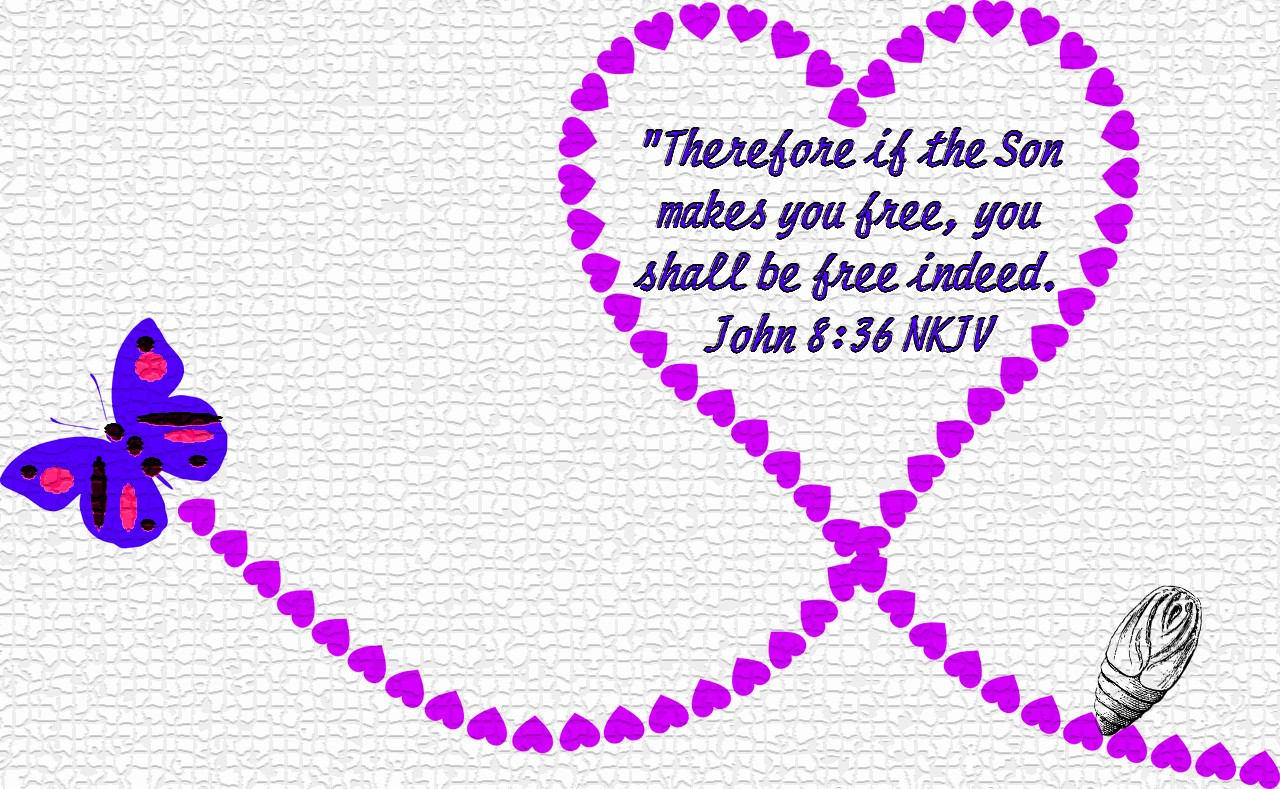 Graphic of a butterfly in flight with hearts and cocoon plus John 8:36 scripture