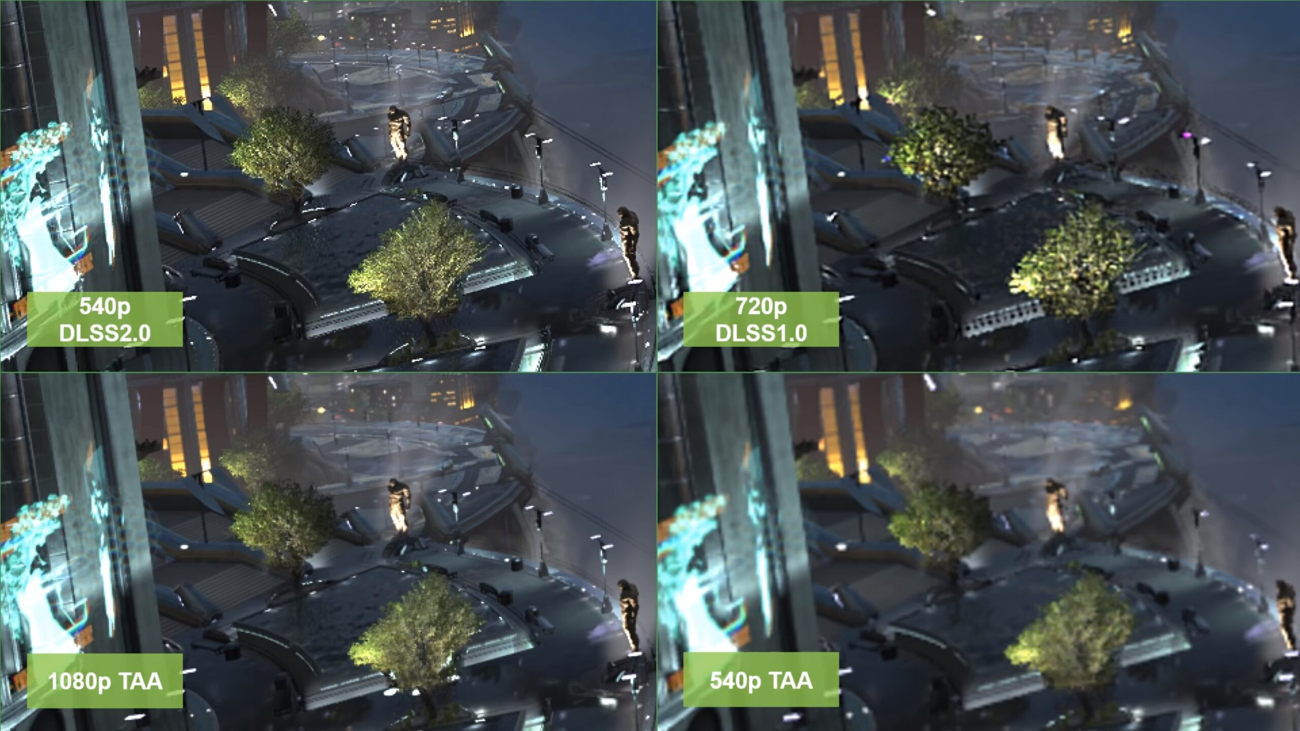 DLSS 2.0 NVIDIA tech comparison vs DLSS 1.0