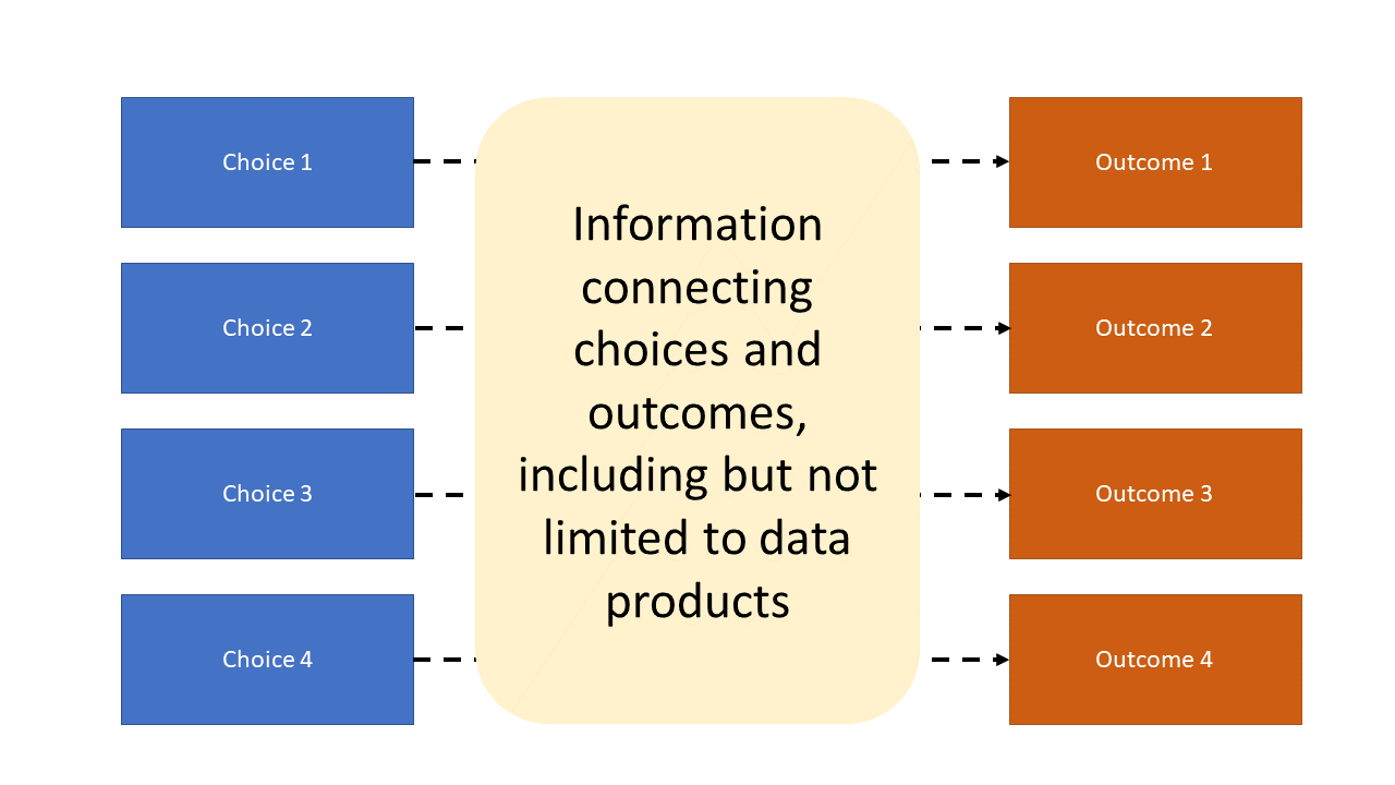 Diagram showing that information including data products is needed to map choicecs to outcomes in decision making